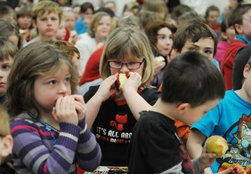 Some 450 students at Chemong Public School in Bridgenorth participate in the Great Big Crunch event on Thursday (March 6).Lance Anderson | This Week