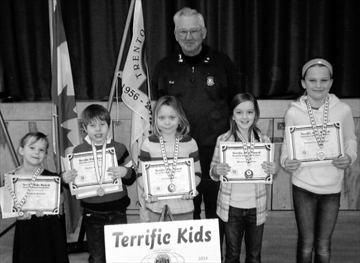 Trenton Christian School, March 14: Front - Victoria, Peyton, Ashley, Miriam, Samantha. Back - Terrific Kids coordinator Bob Findlay.