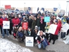 Teachers march to the MPP's office