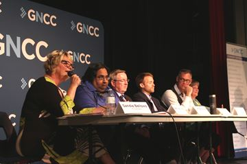 St. Catharines riding candidates debate some of the issues during a GNCC hosted debate Tuesday night. From the left are Sandie Bellows, PC, Saleh Waziruddin, Com, Jim Bradley, Lib (incumbent), Colin Ryrie, Green, Jim Fannon, NoA, and Jennie Stevens, NDP