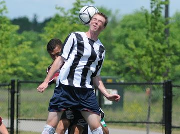 Heading the ball, as St. Thomas Aquinas player Braden Culver is pictured doing in the 2012 Halton high school senior boys' A/AA final against King's Christian Collegiate, is a common play in soccer. Oakville researcher Monica Maher recently co-authored a study investigating the potential cumulative effects of striking soccer balls with the head.