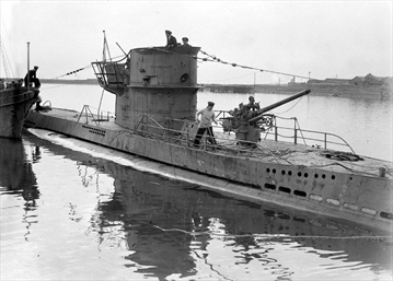 SUB A captured German U-boat submarine is brought into a British port