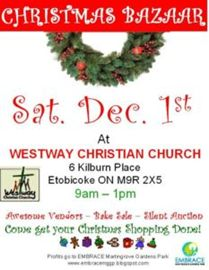 EMBRACE Christmas Bazaar at Westway Christian Church Sat!
