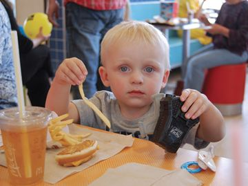 Fry or toy? Big decisions for Jayson Metzger during McHappy Day at the Bolton McDonald's.