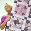 Mary-Claire Nepotiuk's first quilt in what she calls Pepto-Bismol pink
