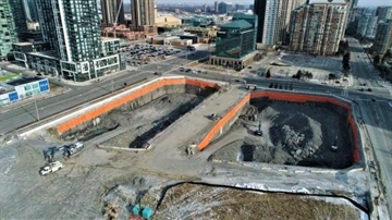 Construction of the M1 and M2 towers has begun starting with two large pits as foundations for the 60-storey towers.