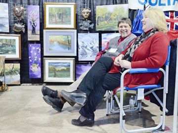The annual Town & Country Living Show was hosted by the Bradford Board of Trade April 13. Artists Meade and Erika Helman of Woodwright Studio in Bond Head.