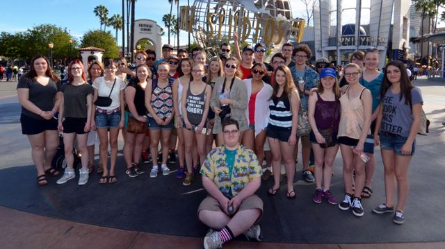 Holy Cross students at Universal Studios