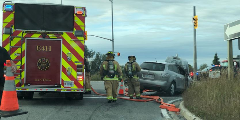 Car fire closes Hwy. 404 off-ramp at Davis Drive in Newmarket