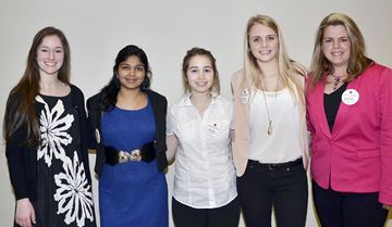 Magna Give Back Awards 19 Grade 12 students who have demonstrated positive contributions to our communities through their volunteer activities will be honoured. The event was held at the Magna International head office. Georgina students, Brooke Grant, from left, Shamika Wickramasuriya, Anita  Iacono, Taylor Felix and presenter, Jennifer Anderson.
