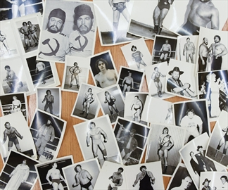 A selection of some of the old wrestling photographs that Hamilton police officer Pete Wiesner found while helping disassemble an  area of homeless people on private property.