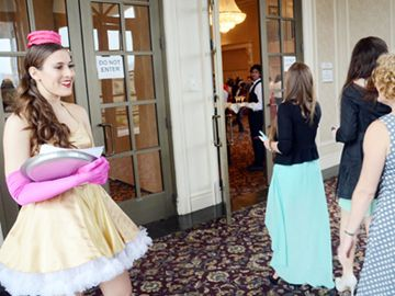 Olivia Filippo greets guest entering Chateau Le Jardin in Vaughan for the fourth annual Chocolate Ball in support of the Heart and Stroke Foundation May 10.