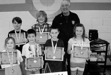 Bayside Elementary, March 14. Front - Ellen, Abbigail, Madison, Emma. Middle- Dominic, Katie, Paige. Back - Ray Northrup.