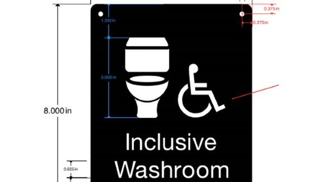 Inclusive washroom sign