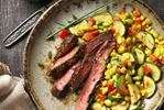 SOUTHWESTERN BEEF STEAK WITH SUCCOTASH SAUTÉ