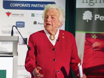 Former Mississauga mayor Hazel McCallion speaks at the International Women's Day event in Niagara Falls in 2015. She will be the keynote speaker at the June 21 age-friendly Niagara event in Thorold.