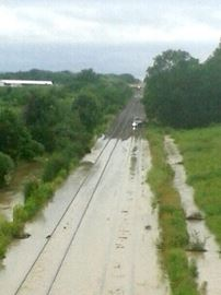 Train stuck in Jordan due to flooded tracks