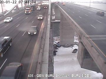 QEW near the Burlington Skyway bridge a on Wednesday morning.