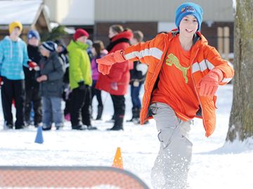 WHITBY -- Max Berardi participated in a Winter Olympics event at Pringle Creek Public School. Students were separated into different countries and took part in 17 activities both inside and outside the school. February 13, 2014.
