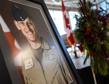 Memorial service for pilot Thomas McQueen at Canadian Warplane Heritage Museum on Wednesday morning.