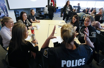 City police officers and 40 women from a group of applicants attend the inaugural Women In Policing Symposium hosted by Peterborough Police Service on Saturday March 23, 2019 held at Fleming College in Peterborough, Ont.
