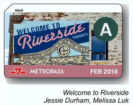 riverside mural featured on february ttc metropass. Black Bedroom Furniture Sets. Home Design Ideas