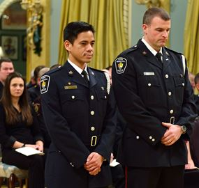 York Regional Police constables Warren Fo Sing (left) and Michael Mulville were in Ottawa yesterday to receive the Medal of Bravery from Governor General David Johnston.