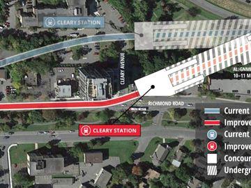 New route at Richmond Road will run through a strip mall