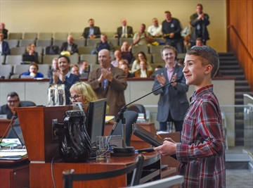 Matthew Carrabs, 14, from Winona made an impassioned address to Hamilton city council about the positive future of LRT resulting in a standing ovation.