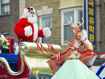 Santa Claus waves to spectators during the 109th annual Santa Claus Parade Nov. 17.