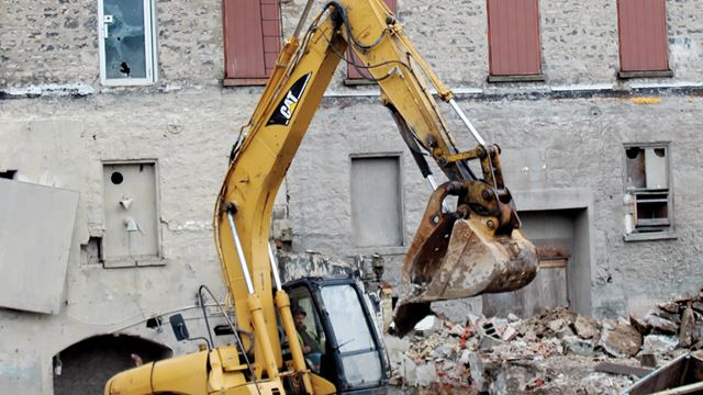 Demolition underway in hespeler for the standard