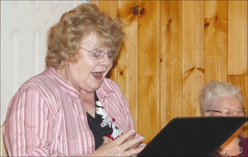 Gazette Events - Ina Hunt belts out a tune at the Parham Free Methodist Church last weekend accompanied by May Walton (the pastor's wife) as the church played host to an evening of gospel music in which 11 participants performed including headliners Ross Clow and Glen Neff.