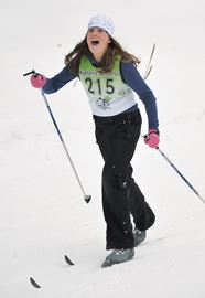 Emma Desroches, 12, of Monsignor Castex School is all smiles at the start of the intermediate girls (grades 6-7) race.