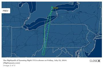Flight path of Sunwing 772