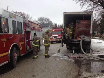Truck on fire in Collingwood