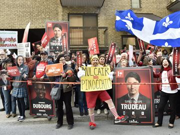 Supporters and protesters