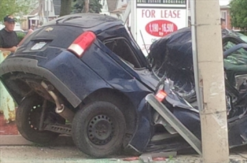 One person suffered minor injuries after a serious crash at Upper Sherman and Queensdale Ave. early Saturday.
