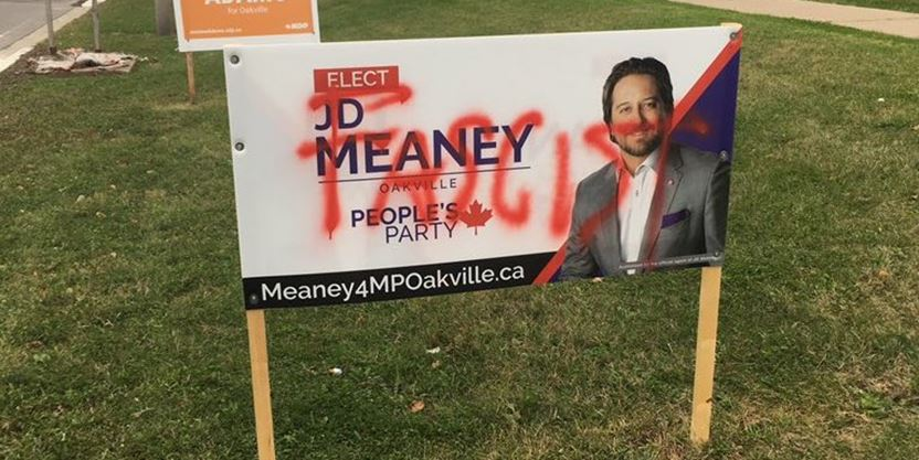 'This is disgusting': Oakville riding candidate's sign vandalized with hurtful language