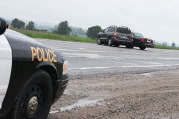 A Nottawasaga OPP cruiser was damaged in a collision Monday afternoon (June 10) on Highway 89 between Alliston and Cookstown.