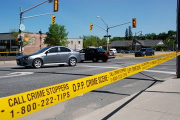PEDESTRIANS STRUCK: Police are investigating an accident after two pedestrians were struck at Centre and Main streets.