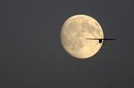 Airplane against the moon in Oshawa