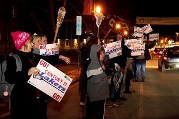 Peterborough Century 21 Lakers's supporters rally outside city hall in Peterborough, Ont. on Monday, Dec. 10, 2018. Supporters don't want to see the Lakers displaced while the floor at the Memorial Centre is repaired. They want council to explore another option.
