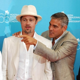 Brad Pitt and George Clooney celebrate weddings