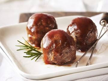 Tourtière meatballs with maple-cranberry glaze