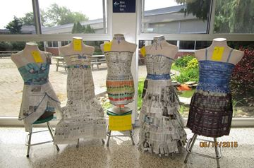Dresses designed and constructed by students at Simcoe Composite School, May 2015.