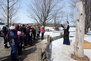 Bronte Creek is holding it's Maple Lane event. Enjoy a guided tour of the Maple Lane, where 1890s costumed interpreters demonstrate how to tap maple trees, make maple syrup and maple sugar. View artifacts in the maple museum or tour the 100-year-old Spruce Lane Farmhouse. Claire WIlson guides members of the public on a tour.
