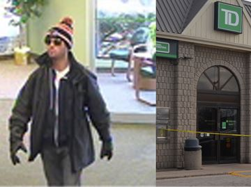UPDATE: Police release surveillance photos of suspect in Waterdown TD Bank robbery