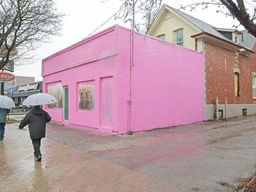 You can't miss pink building