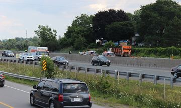 The Fort Erie-bound lanes of the QEW were closed Tuesday afternoon between Victoria Avenue and Jordan Road after a collision.