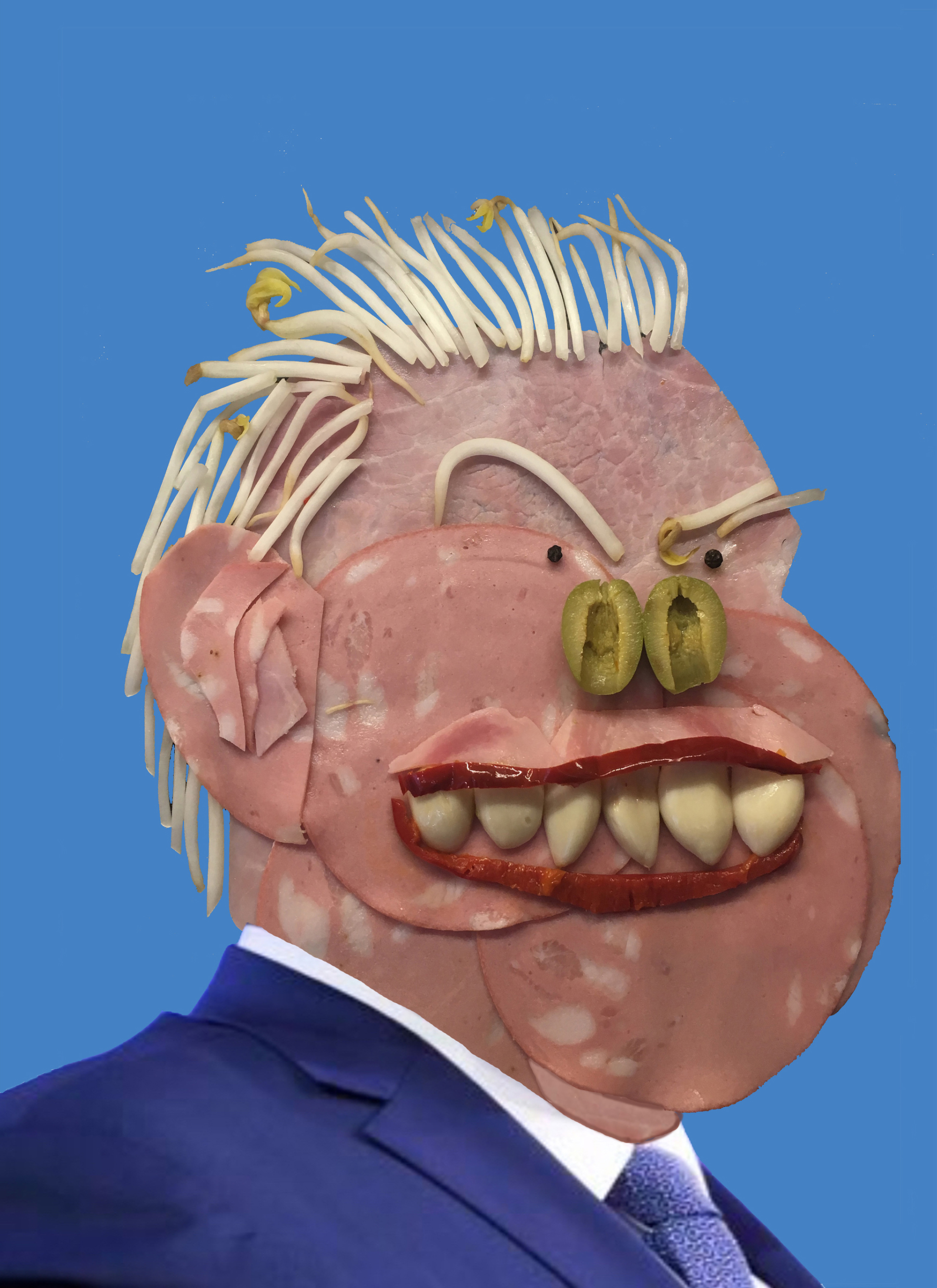 Meathead, by Barbara. An image of Doug Ford made using deli meats.